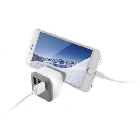 Ksix -  3 USB Stopcontact Splitter met houder en SmartCharge - Wit