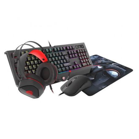 Gaming Combo Set 4In1 Genesis Cobalt 330 RGB toetsenbord plus muis plus headset en muismat - US Layout
