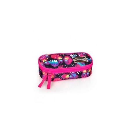 Etui - Polyester - Ovaal - Vlinders - Meisjes - 21 cm - Roze