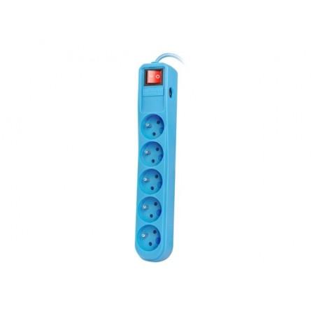 Natec Extreme Media - Stekkerdoos - 5 stopcontacten - overspanningsbeveiliging - 3m - Blauw