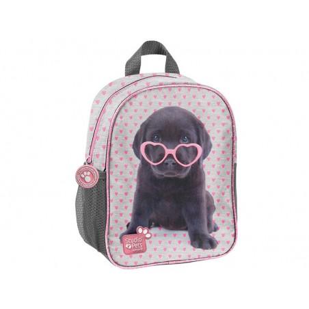 Studio Pets Rugzak  28 cm hoog  Grijs met Roze hartjes
