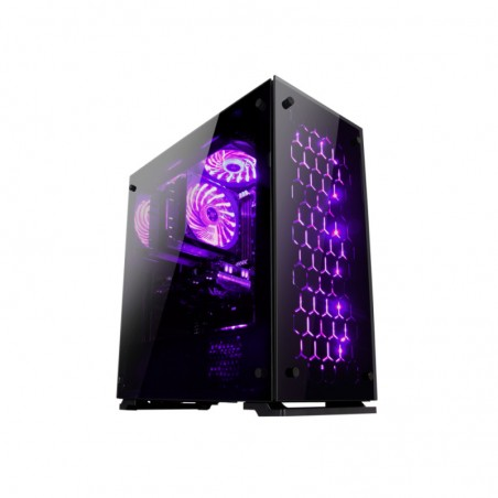 Rampage MAJESTY Tempered Glass Window 3 - 120mm RGB Led Fan Usb3.0 + 2  Usb2.0 Gaming Case