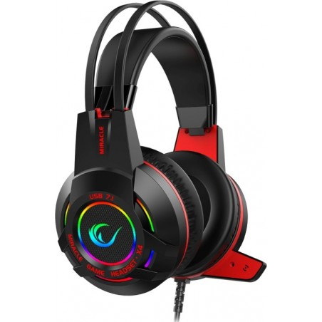 Rampage Miracle-X4 RGb LED 7.1 - Suround sound systeem headsset met microfoon - Zwart